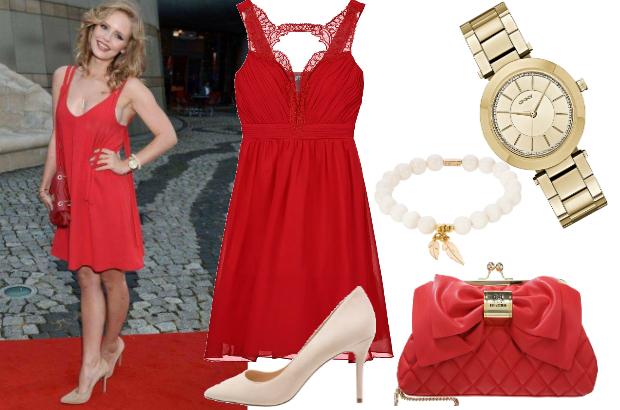 Olga Kalicka w czerwonej sukience / fot. www.facebook.com/olga.kalicka.official