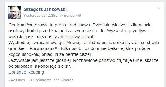 Facebook Grzegorza Jankowskiego