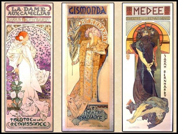 Sarah Bernhardt jako Dama Kameliowa, Gismonda i Medea w ujęciu Alfonsa Muchy