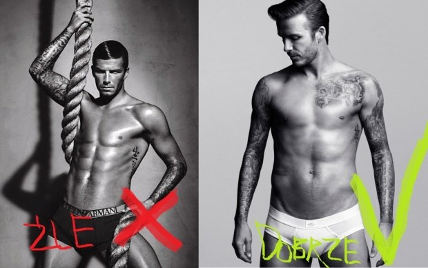 David Beckham w wersji dla Armaniego i w wersji dla H&M