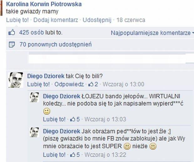 Daniel Dziorek komentuje swój wpis