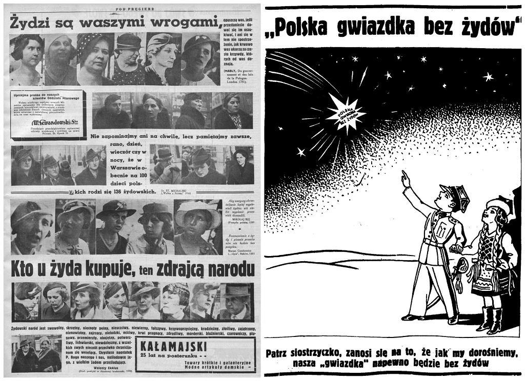 Po lewej strona dziennika 'Pod Pręgierz', 1937 rok. Po prawej ilustracja z tego samego tytułu (fot. z zamkniętych zbiorów Biblioteki Uniwersyteckiej w Poznaniu / Wikimedia.org / Domena publiczna)