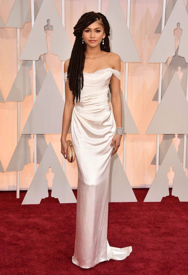 Zendaya arrives at the Oscars on Sunday, Feb. 22, 2015, at the Dolby Theatre in Los Angeles. (Photo by Jordan Strauss/Invision/AP)