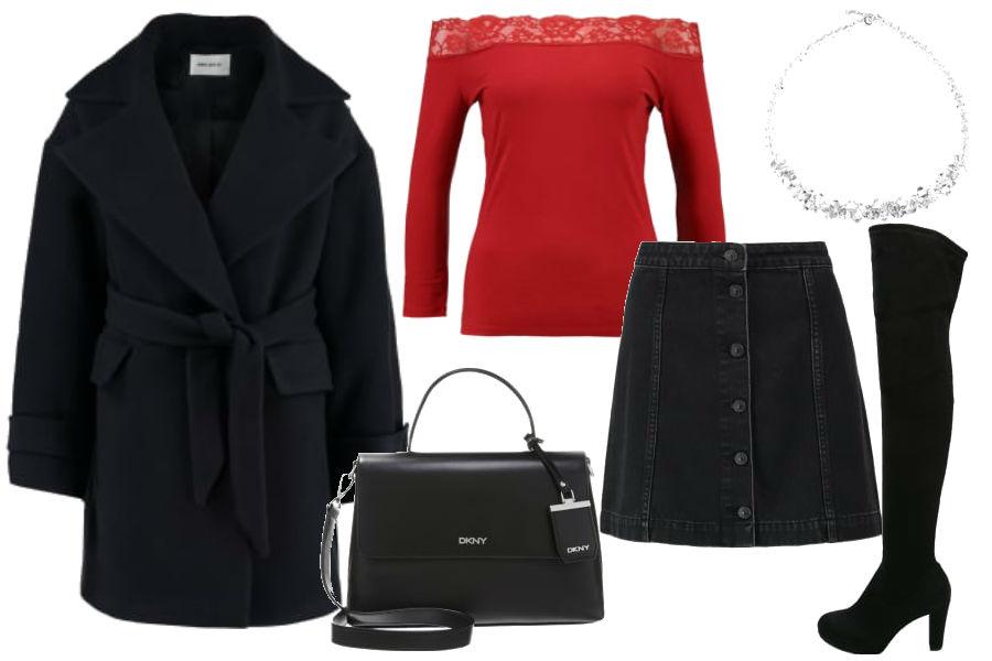 fot. materiały partnera, spódnica z guzikami, kozaki za kolano, czerwona bluzka