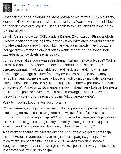 źródło: fb Andrzej Saramonowicz