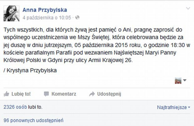 Wpis na fałszywym koncie Anny Przybylskiej na FB