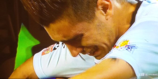 Mica płacze po meczu z Ruchem/ Ekstraklasa.tv