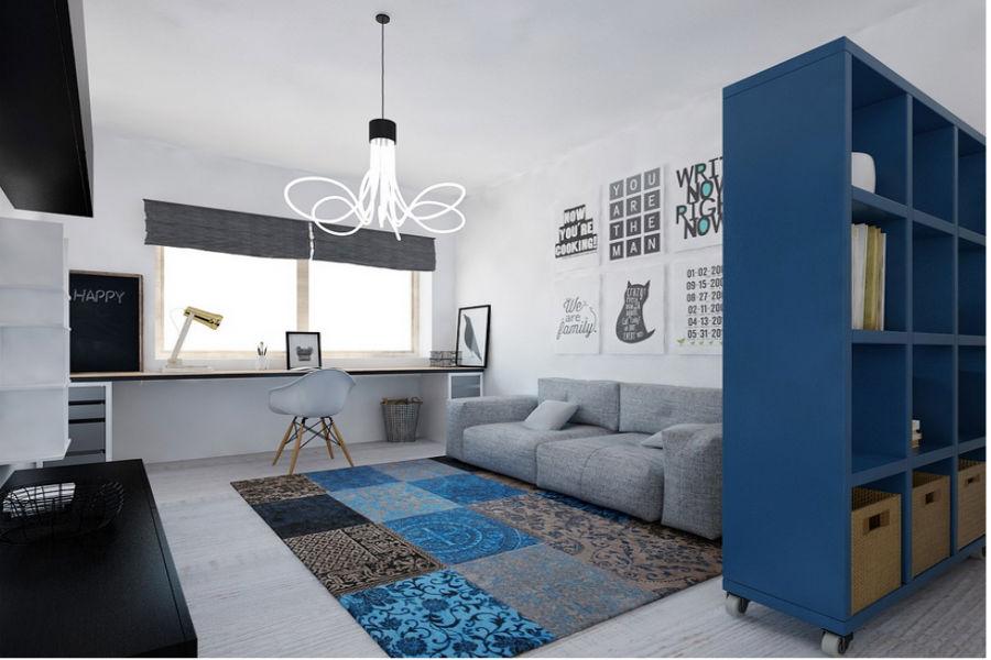 Stonowany i niebieski pokój dla nastolatka
