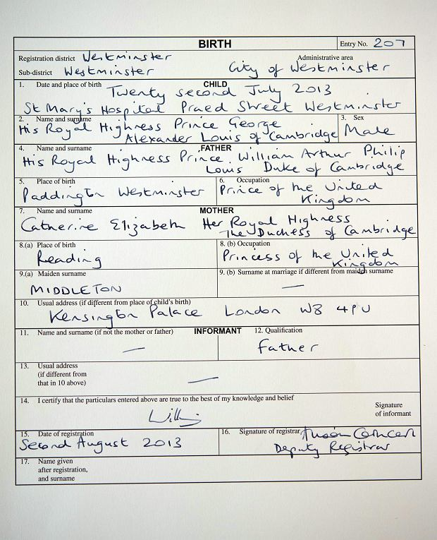A copy of the birth register for Britain's Prince George of Cambridge, which was signed by his father, the Duke of Cambridge, at Kensington Palace in London  on Friday Aug. 2, 2013. The register, which was witnessed by a Registrar from Westminster Register Office,  gives the date and place of Prince George's birth and his full name as His Royal Highness Prince George Alexander Louis of Cambridge. (AP Photo / Stefan Rousseau/PA) UNITED KINGDOM OUT NO SALES NO ARCHIVE
