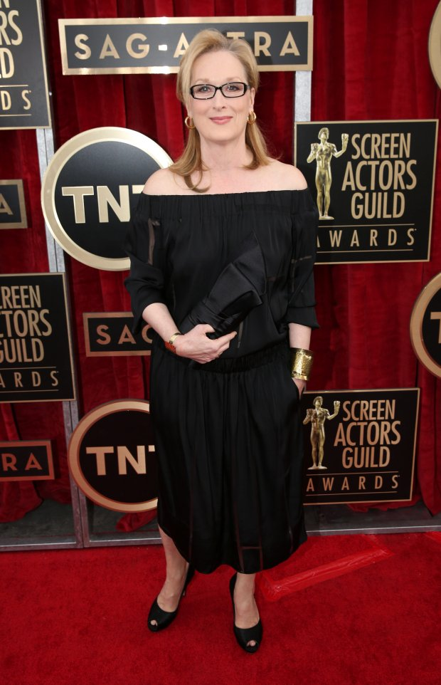 Meryl Streep arrives at the 20th annual Screen Actors Guild Awards at the Shrine Auditorium on Saturday, Jan. 18, 2014, in Los Angeles. (Photo by Matt Sayles/Invision/AP)