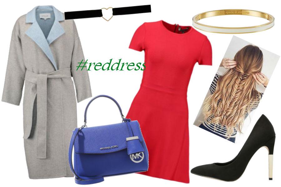 fot. materiały partnera, czerwona sukienka, szary płaszcz, choker