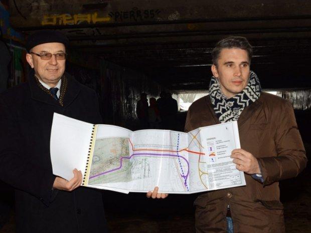 Burmistrz Mokotowa Bogdan Olesiński i dyrektor ZDM Łukasz Puchalski