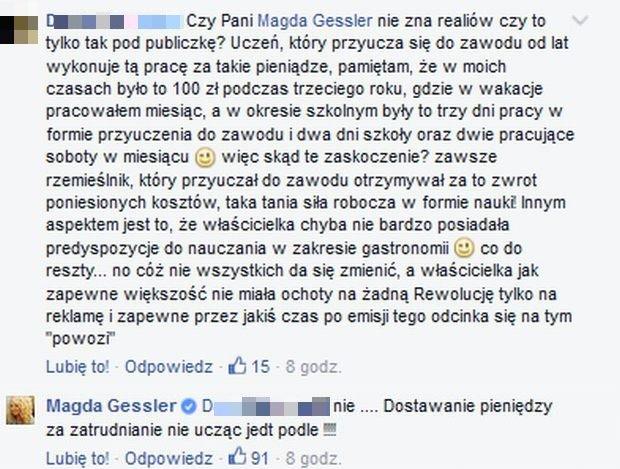 Komentarze na FB Magdy Gessler