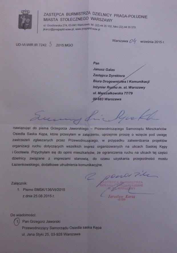 Pismo do Burmistrza w sprawie trasy Maratonu