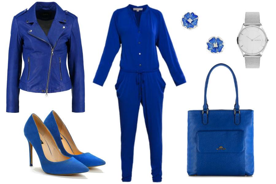 Kolaż Avanti24 / Kobaltowy total look / Materiały partnera