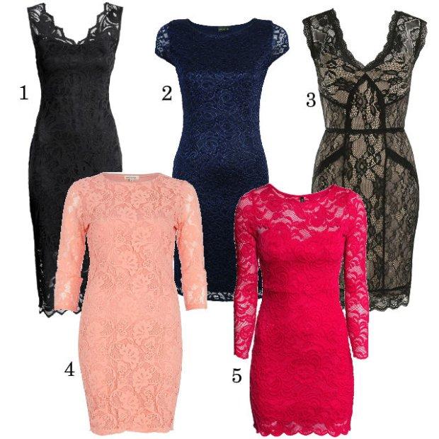 Koronkowe sukienki ołówkowe 1. H&M 129,90 zł 2. Bon Prix 129,99 zł 3. Orsay 159,95 zł 4. River Island 159 zł 5. H&M 99,90 zł