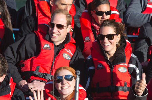 Britain's Prince William and his wife Kate, Duchess of Cambridge, right, take a ride on the Shotover jet boat near Queenstown, New Zealand, Sunday, April 13, 2014. The royal couple are on an official visit to New Zealand. (AP Photo/Mark Mitchell, Pool)