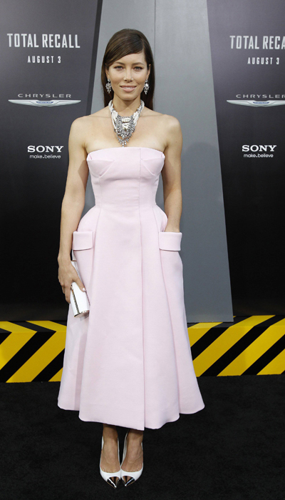 Cast member Jessica Biel poses at the premiere of
