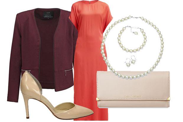 Stylizacja z sukienką w wyrazistym kolorze