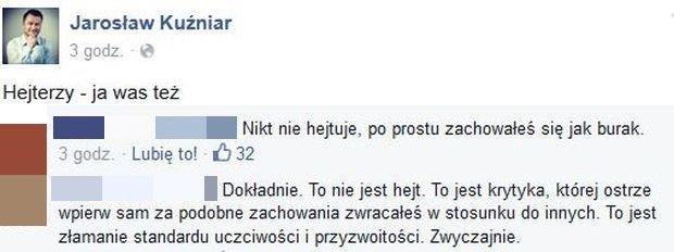 Komentarze na profilu Jarosława Kuźniara