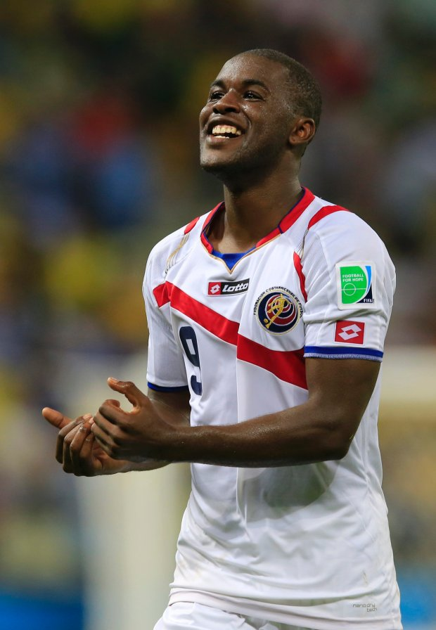 Costa Rica's Joel Campbell celebrates after the group D World Cup soccer match between Uruguay and Costa Rica at the Arena Castelao in Fortaleza, Brazil, Saturday, June 14, 2014.  Costa Rica won the match 3-1.  (AP Photo/Bernat Armangue)