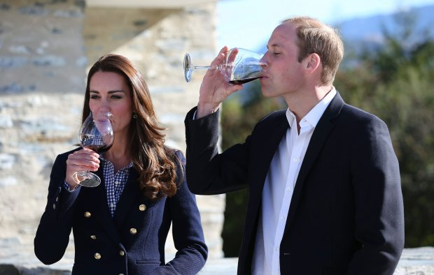 Britain's Prince William, right, and his wife Kate, Duchess of Cambridge, sample a wine during a visit to Amsfield Winery in Queenstown, New Zealand, Sunday, April 13, 2014. The royal couple are on an official visit to New Zealand. (AP Photo/Fiona Goodall, Pool)