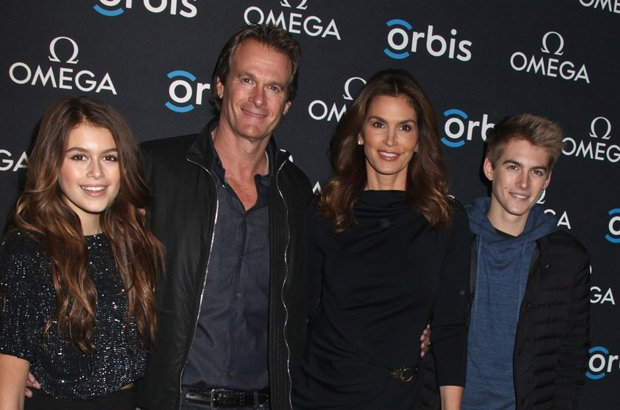 Mandatory Credit: Photo by Gregory Pace/BEI/REX (4416732t)  Kaia Gerber, Rande Gerber, Cindy Crawford and son Presley Gerber  'Hospital in the Sky' film screening, New York, America - 05 Feb 2015
