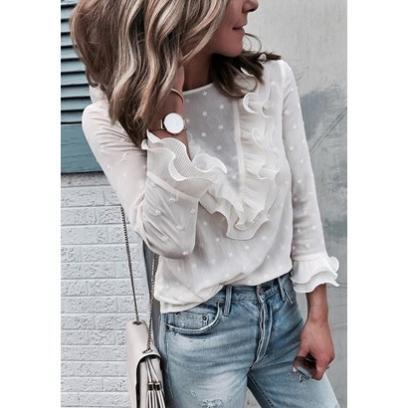 Ogromny Biała bluzka koszulowa: idealna baza do codziennych stylizacji BO15