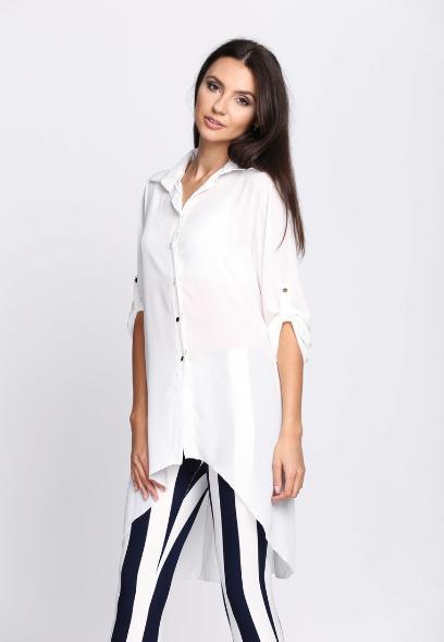 Tylko na zewnątrz Biała bluzka koszulowa: idealna baza do codziennych stylizacji EF26