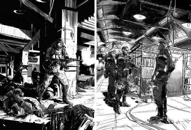 Ilustracje do książki ''Kompleks 7215'' - Robert Adler