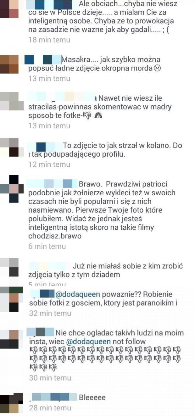 Komentarze na profilu Dody