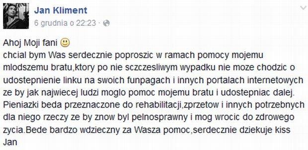 Screen z Facebooka Jana Klimenta