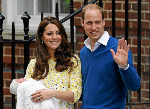 Britain's Prince William and Kate, Duchess of Cambridge and their newborn baby princess, pose for the media as they leave St. Mary's Hospital's exclusive Lindo Wing, London, Saturday, May 2, 2015.  Kate, the Duchess of Cambridge, gave birth to a baby girl on Saturday morning.   (AP Photo/Kirsty Wigglesworth)