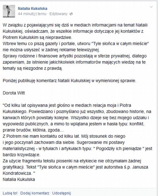 Facebook.com/Natalia Kukulska