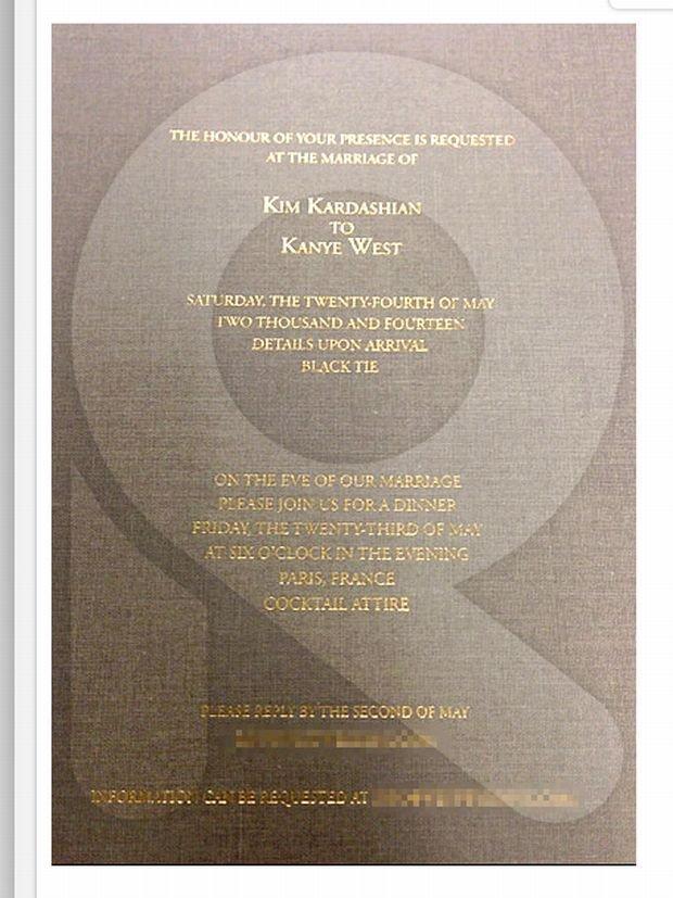 Zaproszenie na ślub Kim Kardashian i Kanye Westa