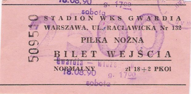 bilet na mecz 1990 rok