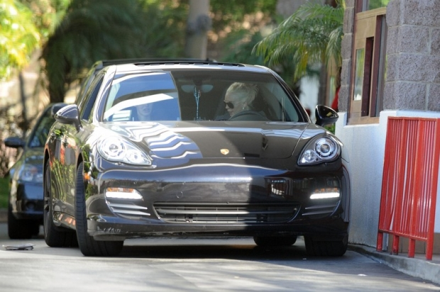 EXCLUSIVE: Pictures of Lindsay Lohan's Porsche that was involved in a crash with a truck in LA, leading to the actress being taken to hospital. Lohan was reportedly driving her black Porsche on Pacific Coast Highway in when it crashed into the back of a truck. Lohan went to an LA hospital after the crash but was not taken there by ambulance.  Pictured: Lindsay Lohan