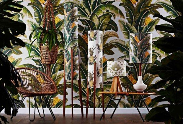 Modne motywy tropikalne. Lampy Retro Print Revival