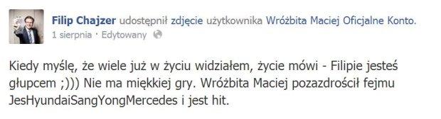 Komentarz Filipa Chajzera dot. koszuli Macieja Wróżbity