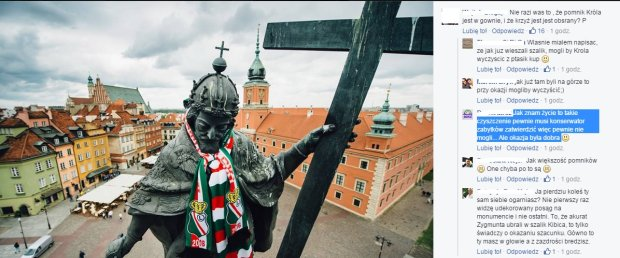 Król Zygmunt III Waza ubrany w szalik klubu Legia Warszawa.