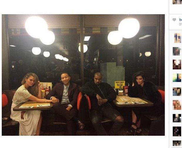 Chrissy Teigen, John Legend, Kanye West, Kim Kardashian