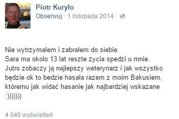 Komentarz na profilu Piotra Kuryło