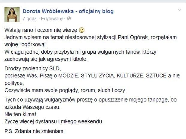 Dorota Wróblewska o stroju Magdaleny Ogórek