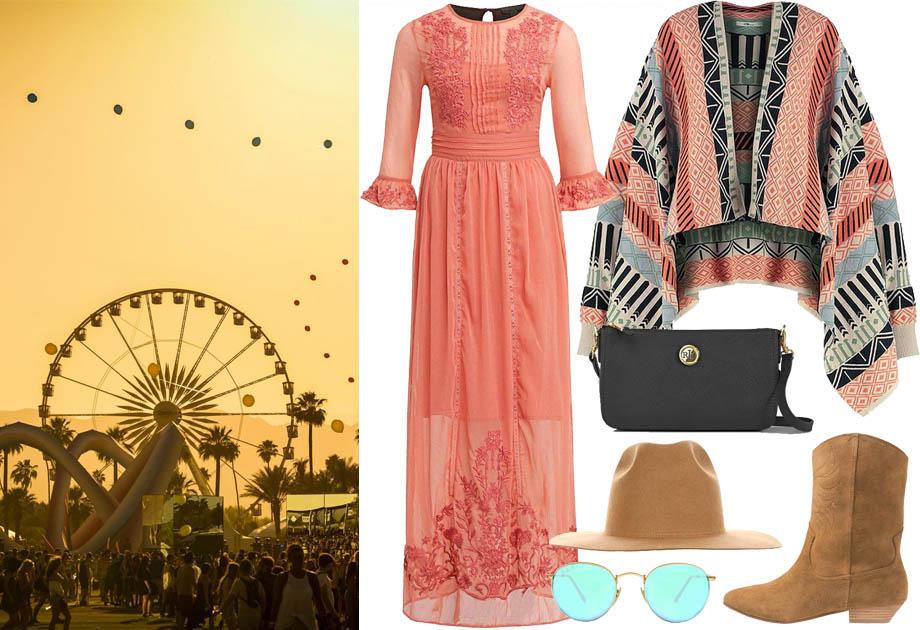 Coachella stylizacja z sukienką