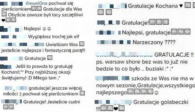 Komentarze na profilu Eweliny z 'Warsaw Shore'