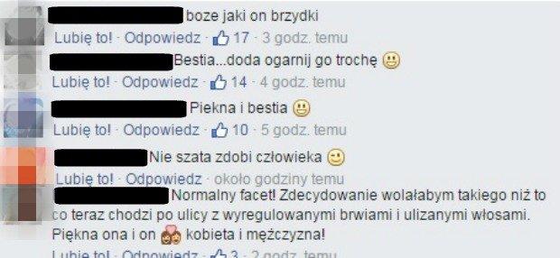 Komentarze pod zdjęciem na Facebooku Dody