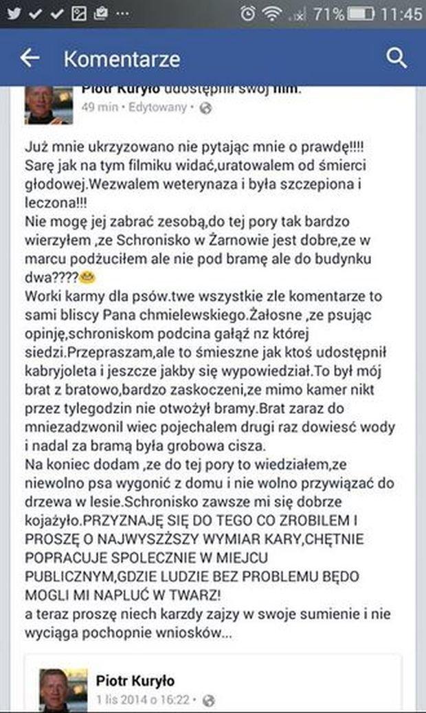 Wpis na profilu Piotra Kuryło