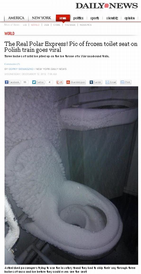 Ośnieżona toaleta w pociągu