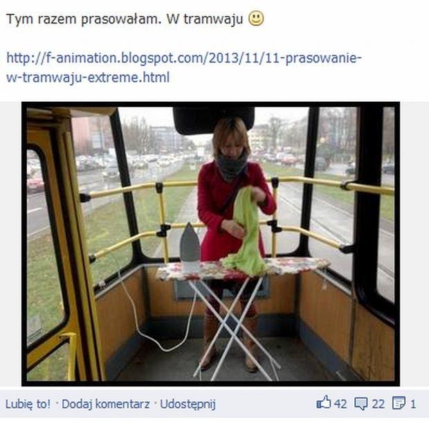 Element Kate, prasowanie w tramwaju, f-animation.blogspot.com