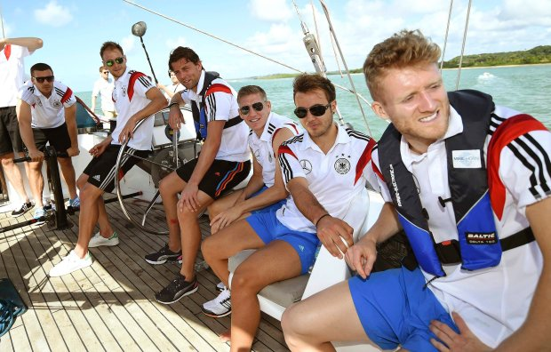 Germany's national soccer team members travel aboard the sailing ship 'Pangaea' near the village of Santo Andre, near Porto Seguro June 10, 2014. From R to L are: Andre Schuerrle, Mario Goetze, Sebastian Schweinsteiger, Roman Weidenfeller, Benedikt Hoewedes and Lukas Podolski.   REUTERS/Markus GilliarPool  (BRAZIL  - Tags: SOCCER SPORT WORLD CUP)